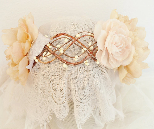 Lace and Floral Headpiece by Faylyne
