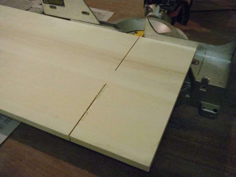 Sawing wood for shelves using miter saw