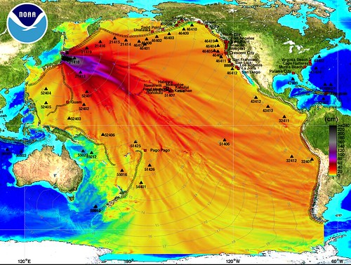 2011 03 11 Japan Earthquake, Tsunami map NOAA