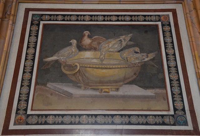 Mosaic showing doves drinking from a bowl, from Hadrian's villa, 2nd century AD, probably a copy of Sosus's work, a Greek mosaic artist of the second century BC, Palazzo Nuovo, Capitoline Museums