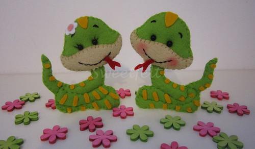 ♥♥♥ Sra. e Sr. Serpente... by sweetfelt \ ideias em feltro