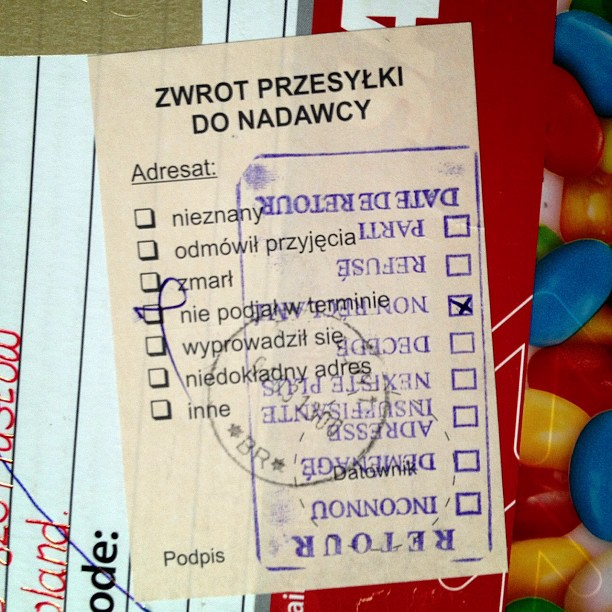 I sent a box to a friend in #poland in January and got it back today, no idea why since none of this makes sense to me, maybe it does to you?