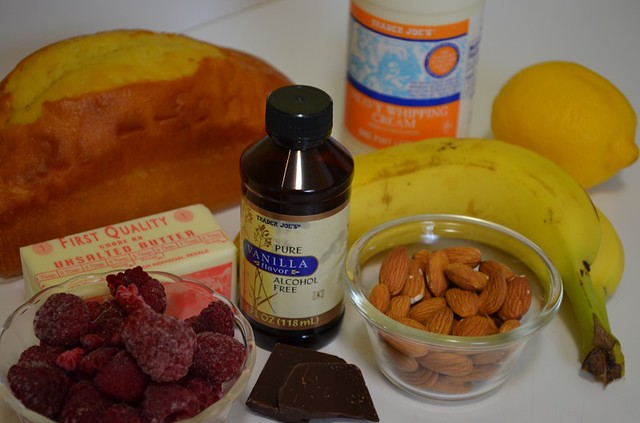 Banana Over Pound Cake Dessert- all ingredients