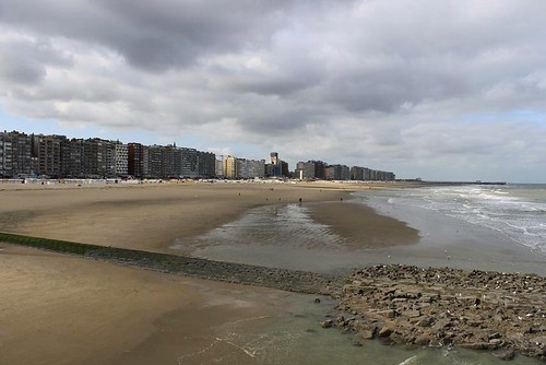 Blankenberge Beach and apartments wih coastline view