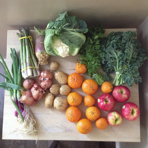 Super excited about our first box of organic produce from Abundant Harvest!