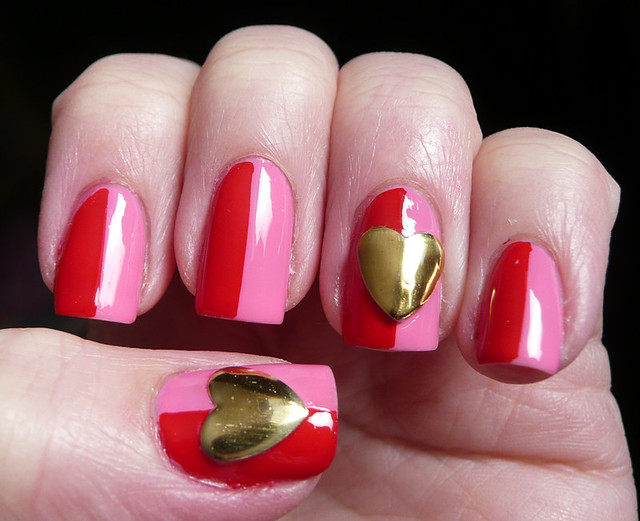 pink red large heart stud mani 1