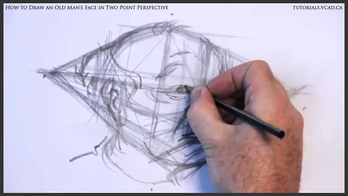 learn how to draw an old man's face in two point perspective 012