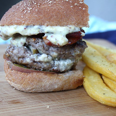 Bacon-Apple Blue Cheese Burgers