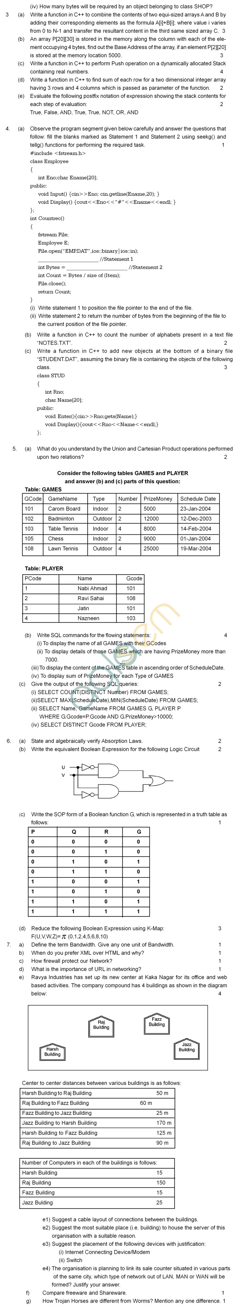 CBSE Board Exam 2013 Sample Question Papers for Computer Science