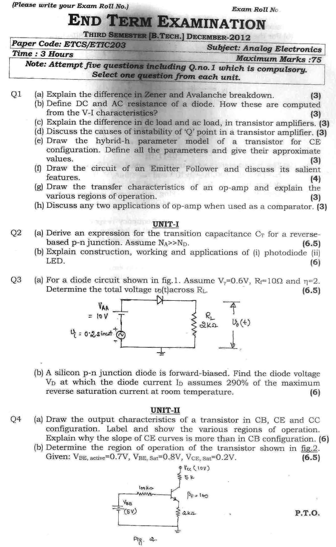 GGSIPU Question Papers Third Semester – End Term 2012 – ETCS-203/ ETIC-203