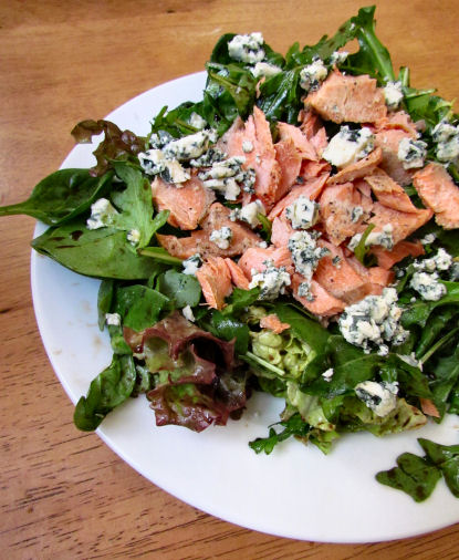 Bleu Cheese and Salmon with Arugula