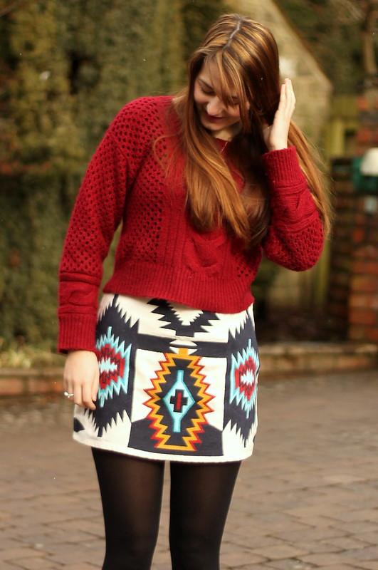 Motel woolly jumper, Zara tribal skirt, Dorothy Perkins flat shoes