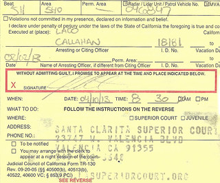 speeding ticket from Officer CALLAHAN