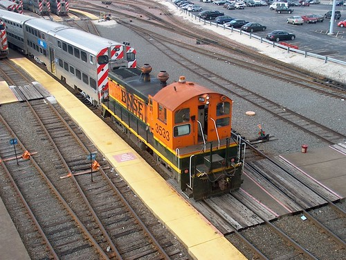 BNSF Railway EMD SW 1200 switcher at work in a Metra coach yard maintenance facility.  Chicago Illinois.  September 2006. by Eddie from Chicago