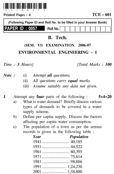 UPTU B.Tech Question Papers - TCE-601-Environmental Engineering – I