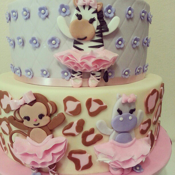Animal Tutu Ballerina Cakes Pastelcolors Cheetah Zebra Monkey