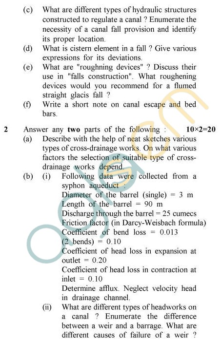 UPTU B.Tech Question Papers -CE-802 - Water Resources Engineering – II