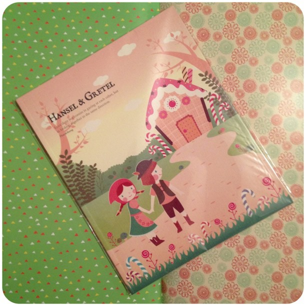 Each page is decorated inside with a fairy tale #notebook #snailmail #stationery #yozocraft #hanselandgretal
