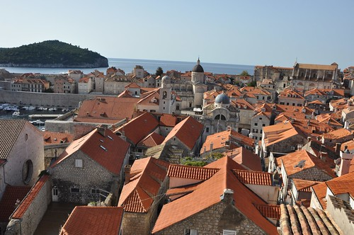 looking out over the roofs of Dubrovnik.  The brighter ones were the ones that needed to be replaced after the war.