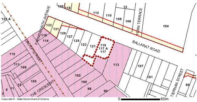 Public acquisition overlay (yellow) / heritage overlay (pink), Ballarat Road, Footscray