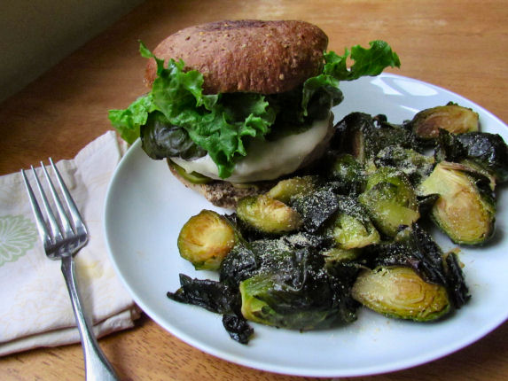Turkey Burger with Lettuce and Brussels Sprouts
