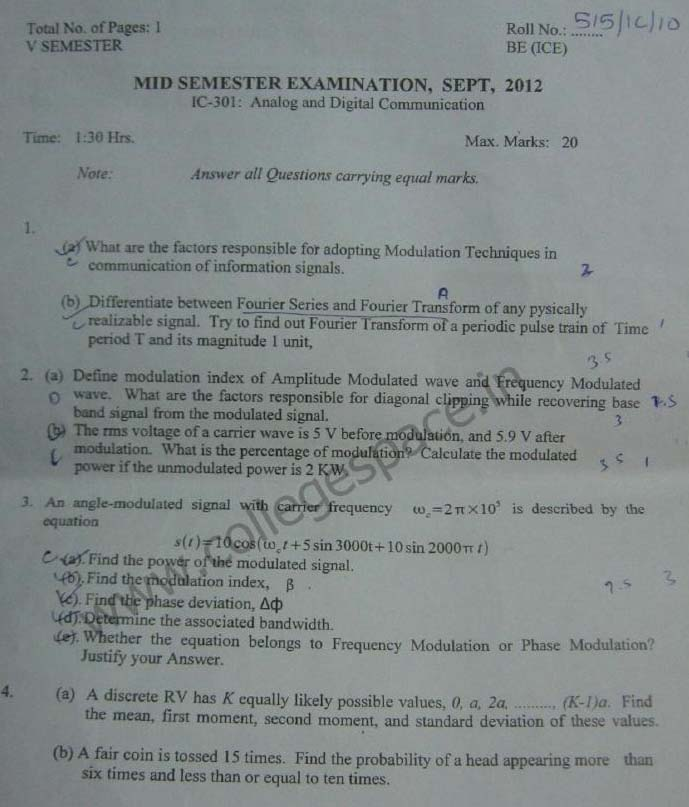 NSIT Question Papers 2012 – 5 Semester - Mid Sem - IC-301