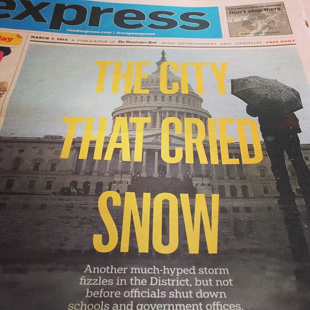 Perfect headline/photo from the Express #snowquester