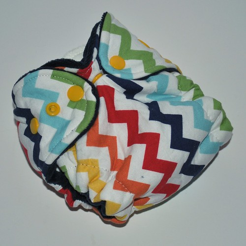 Bumstoppers Newborn Rainbow Chevrons Hybrid Fitted **New Style**