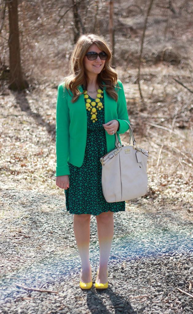 heart print dress outfit idea