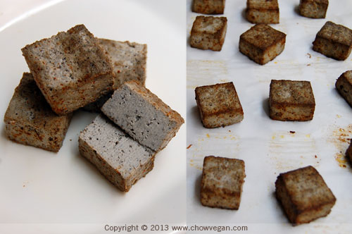 Roasted Black Tofu Cubes