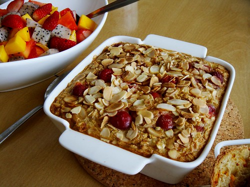Sour Cherry Almond Baked Oatmeal