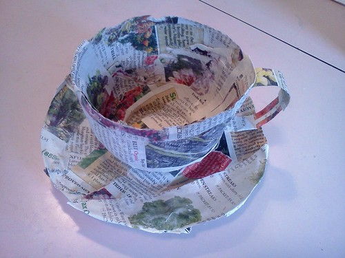 paper mache teacup and saucer