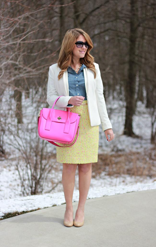 pink neon bag tweed skirt work outfit