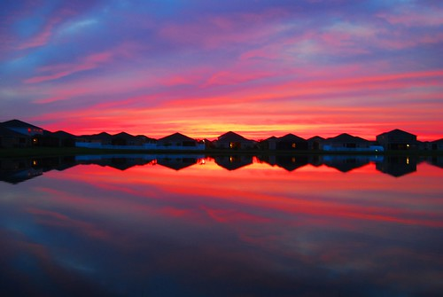 sunset sky reflection water clouds tampa mirror tampabay florida