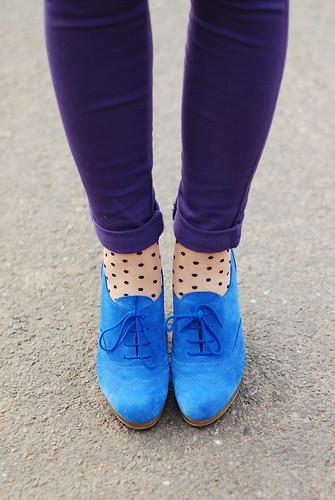 Blue suede shoes, polka dots & purple skinnies