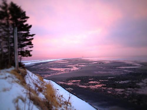 pink winter sunset alaska view homer homerspit
