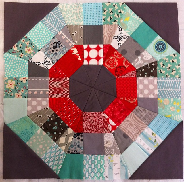Always Bee Learning Octagonal Orb block Using the Modern Quilt Guild Tutorial