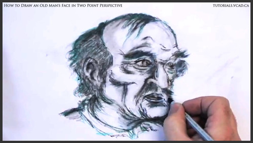 learn how to draw an old man's face in two point perspective 045