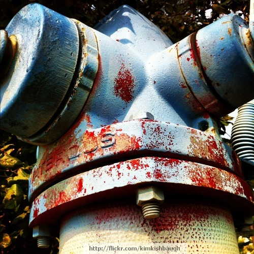 Rusting Fire Hydrant - Red/Blue