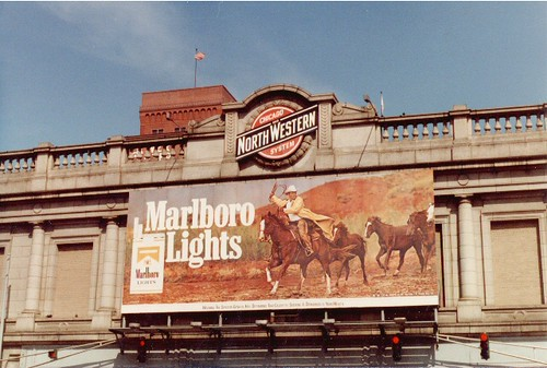 Marlboro cigarette billboard advertisement at NorthWestern Station. ( Gone - Demolished 1984)  Chicago Illinois.  June 1983. by Eddie from Chicago