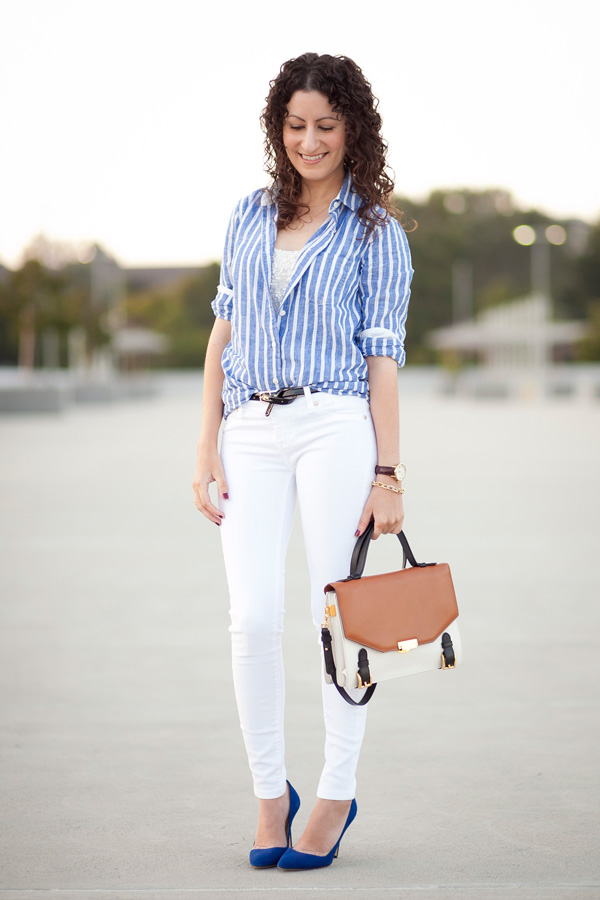 Striped Linen & Hemmed Skinny Jeans