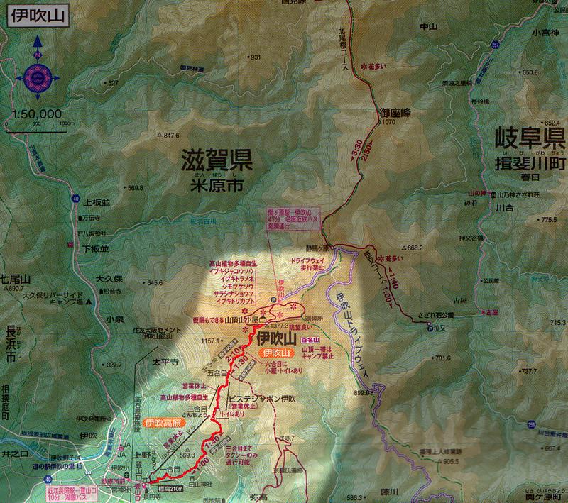 伊吹山の地図