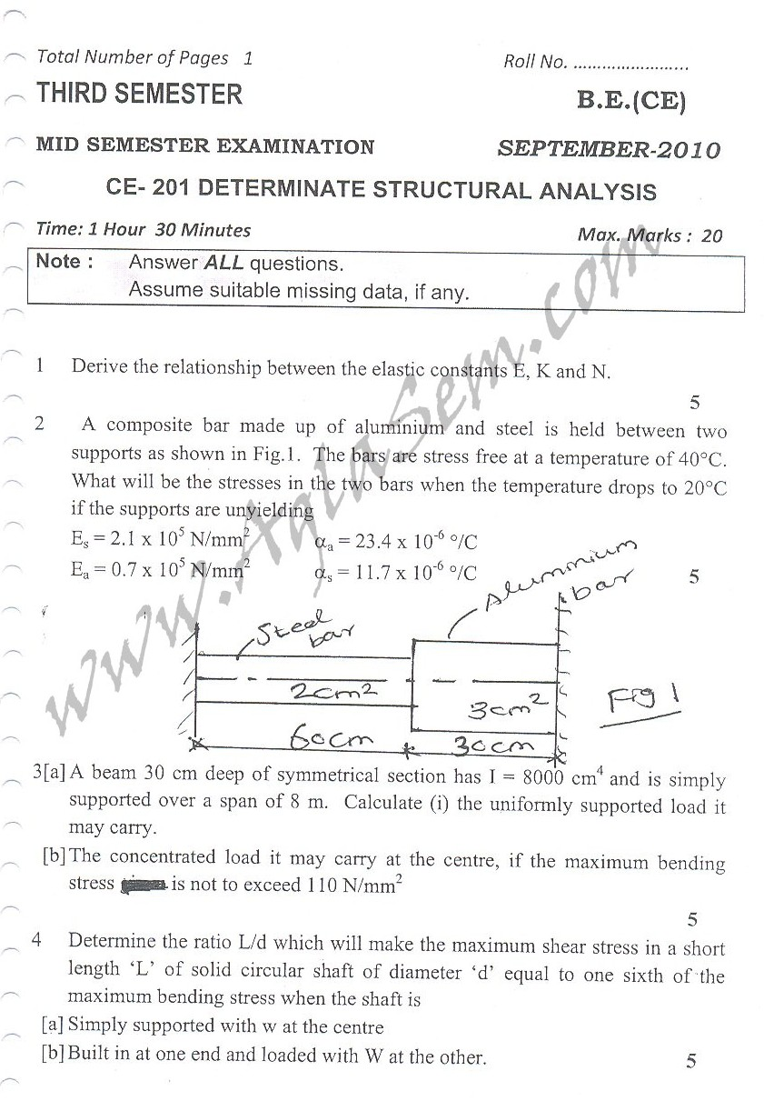 DTU Question Papers 2010 – 3 Semester - Mid Sem - BT-205