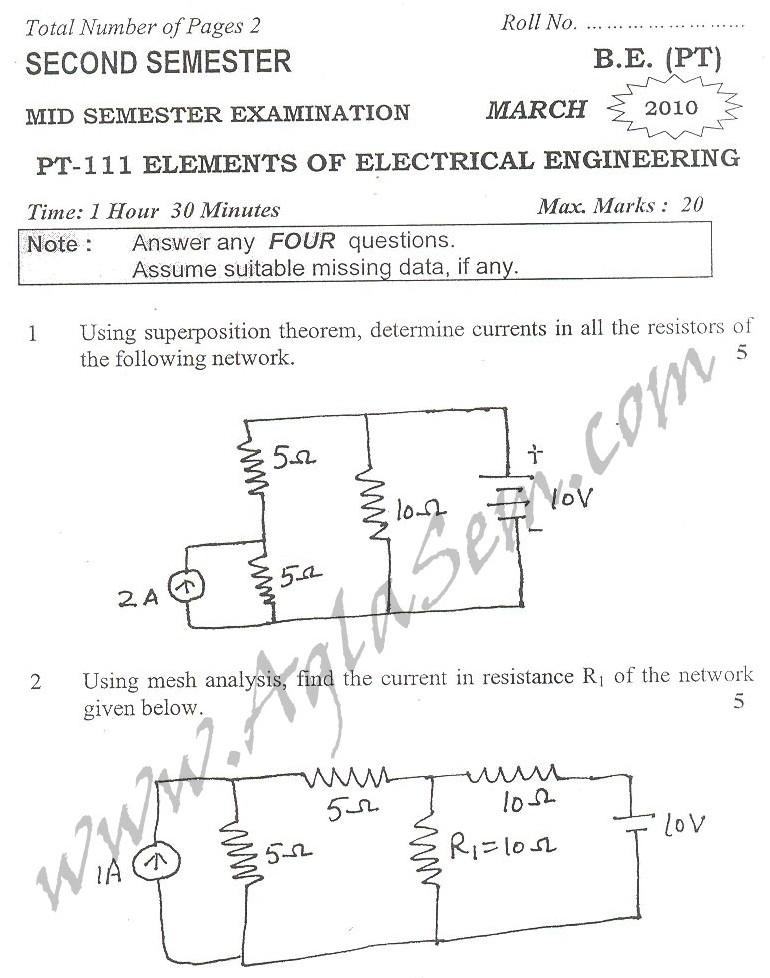 DTU Question Papers 2010 – 2 Semester - Mid Sem - PT-111