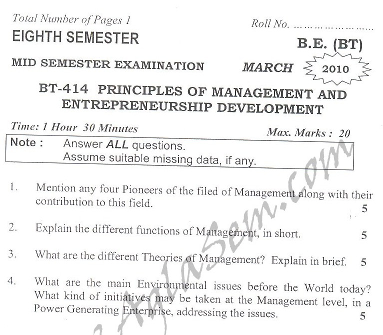 DTU Question Papers 2010 – 8 Semester - Mid Sem - BT-414