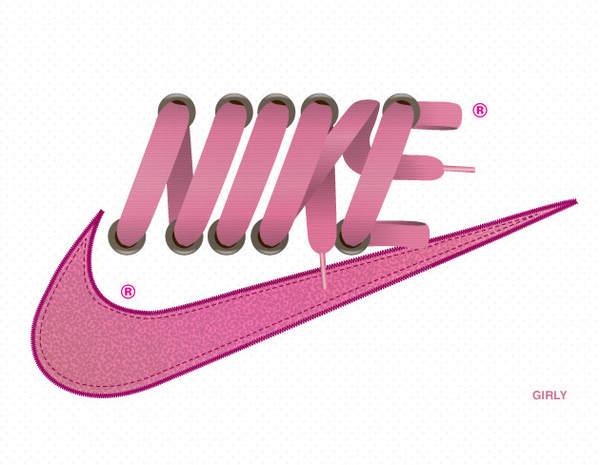 logotipo nike hecho de agujetas