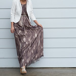 white blazer maxi dress
