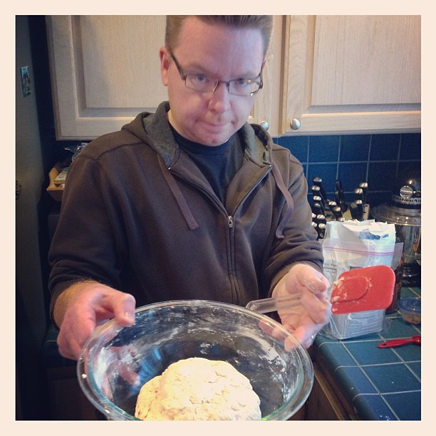 "#kvpkitchen : Today's kitchen adventure - attempting ""No-Knead"" bread. Hmm.. #baking #bread"