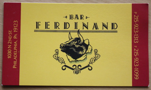 Bar Ferdinand Restaurant business card