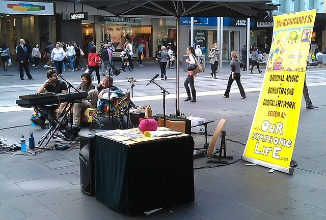 Buskers - selling music downloads